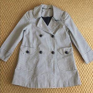 Topshop Nautical Striped Peacoat Blazer size 2 XS